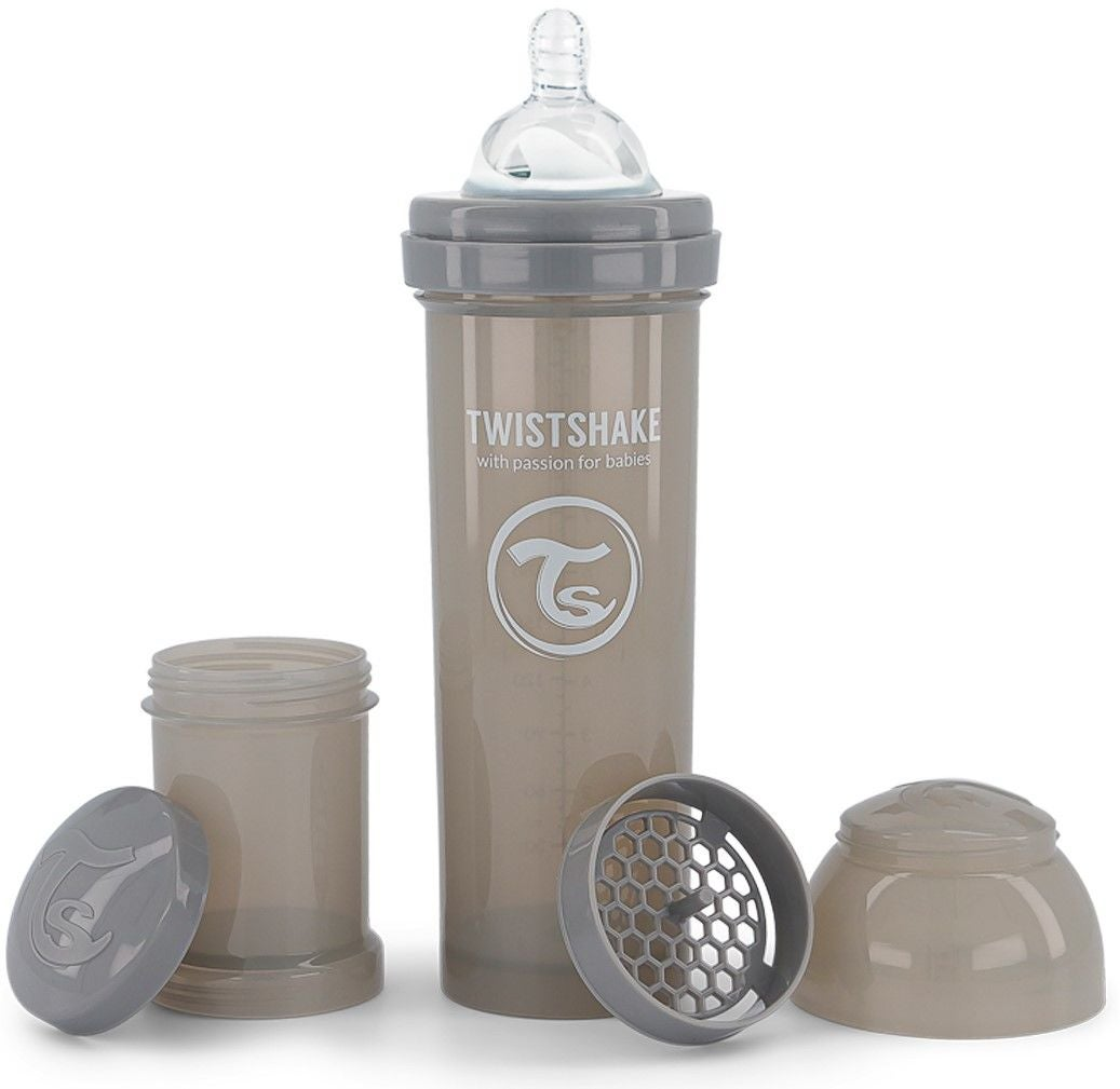 Twistshake Anti-Kolik Sutteflaske 330 ml, Pastel Grey