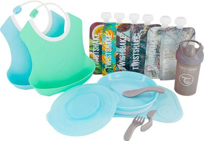 Twistshake Tableware Kit, Blue/Green/Grey
