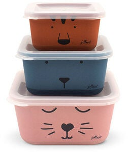 Jollein Snackbox Bambus Animal Club 3-Pak, Multi