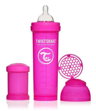 TwistShake 330ml Anti Colic Sutteflaske, Pink