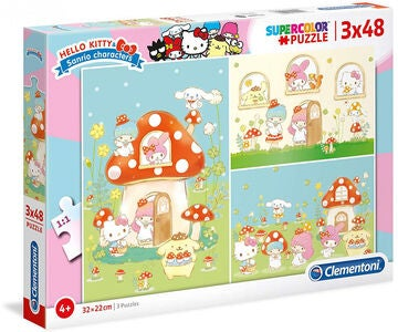 Hello Kitty Puslespil 3x48 Brikker