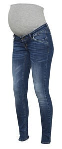 Mamalicious Savanna Slim Jeans, Medium Blue Denim
