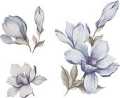 That's Mine Wallsticker Mangolia Flower, Blue