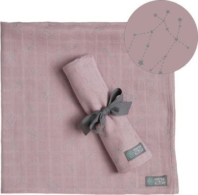 Vinter & Bloom Northern Lights Muslin Tæppe Stella 2-pack, Pink