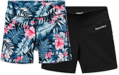 Hyperfied Move Tights 2-pak, Black/Tropical Flower