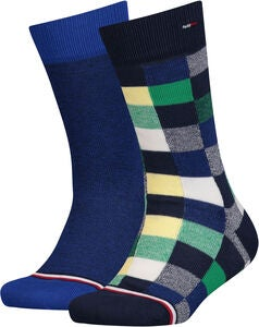 Tommy Hilfiger Blocks Strømper 2-pak, Blue/Green