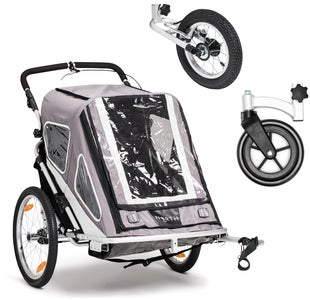 North 13.5 Speeder 2 Cykelanhænger Inkl. Stroller Wheel & Jogginghjul, Grey