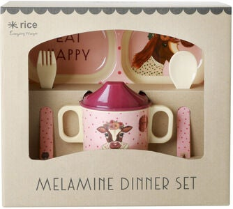 Rice Melaminsæt Farm Animals 4 pcs, Pink