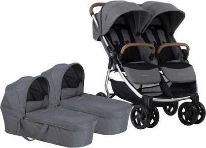 Crescent Duo Lightway Tvillingevogn, Grey Melange