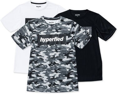 Hyperfied Edge T-Shirt 3-pak, Black/White/Camo Blue
