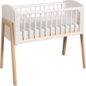 Troll Bedside Crib Come To Me, Hvid/Natur