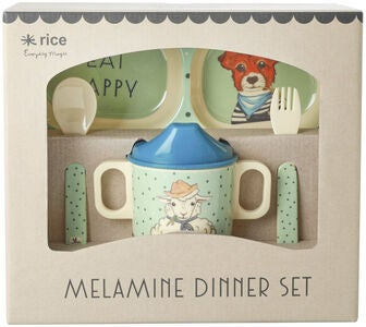Rice Melaminsæt Farm Animals 4 pcs, Green/Blue