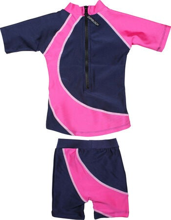 Zunblock T-Shirt & Shorts, Star, Navy/Pink