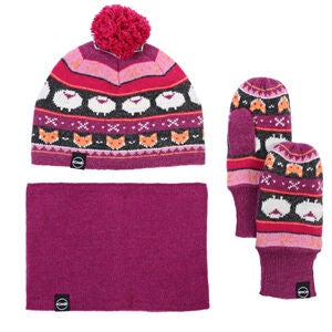 Kombi Vintersæt The Fox Fair Isle, Magenta Mix