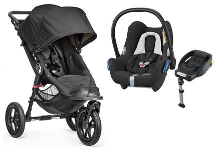 Baby Jogger City Elite Klapvogn Single & Maxi Cosi Cabriofix med base, Black