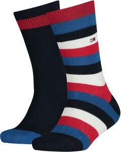 Tommy Hilfiger Basic Stripe Strømper 2-pak, Midnight Blue