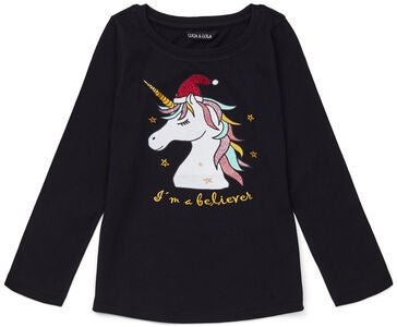 Luca & Lola Langærmet T-shirt Unicorn Believer, Black