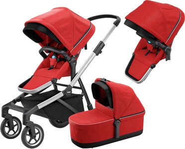 Thule Sleek Tvillingevogn Inkl. Liggedel, Energy Red