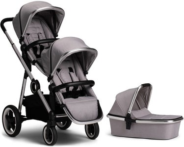Beemoo Twin Travel+ 2019 Søskendevogn, Light Grey + Liggedel