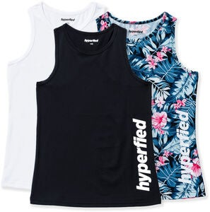 Hyperfied Split Tank Top 3-pak, Black/White/Tropical Flower