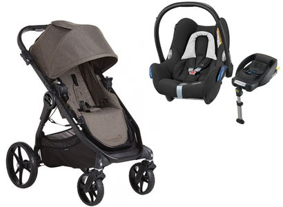 Baby Jogger City Premier Klapvogn & Maxi Cosi Cabriofix med base, Taupe