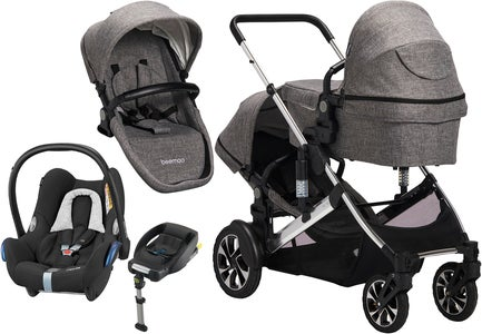Beemoo Maxi Travel Lux II Søskendevogn inkl. Maxi-Cosi Travelsystem, Grey/Silver