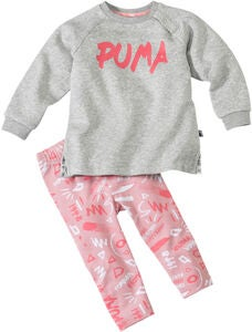 Puma Minicats Girls Aop Trøje & Leggings, Light Grey Heat
