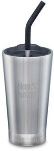 Klean Kanteen Insulated Tumbler m. Sugerørslåg 473ml, Brushed Stainless