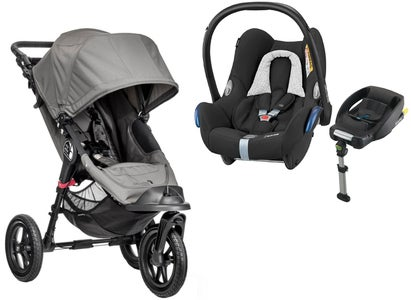 Baby Jogger City Elite Single & Maxi Cosi Cabriofix, Black Grid & Base