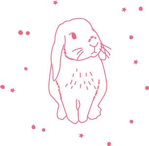 Mimilou Wallsticker Neon Pink Rabbit