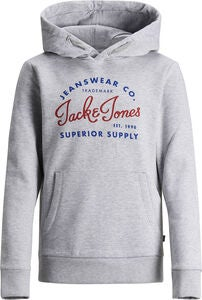 Jack & Jones Logo Hoodie, Light Grey Melange