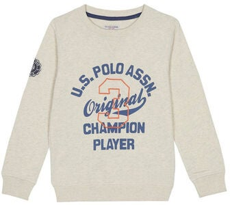 U.S. Polo Assn. Champion Player Collagetrøje, Oatmeal Marl
