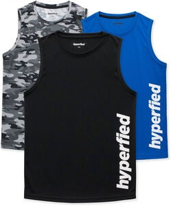 Hyperfied Bounce Tank Top 3-pak, Black/Camo Black/Blue