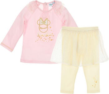 Disney Minnie Mouse Trøje & Bukser m. nederdel, Light Pink