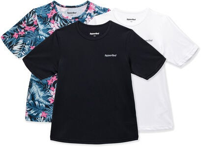 Hyperfied Wave T-Shirt 3-pak, Black/White/Tropical Flower