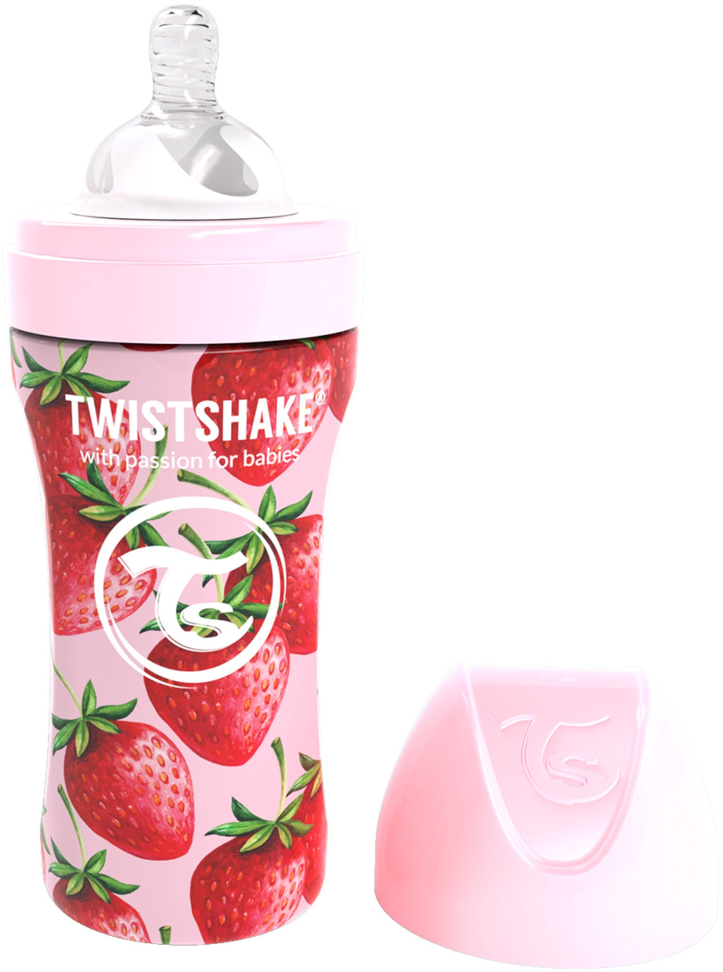 Twistshake Anti-Colic Stainless Steel Sutteflaske 330ml, Strawberry