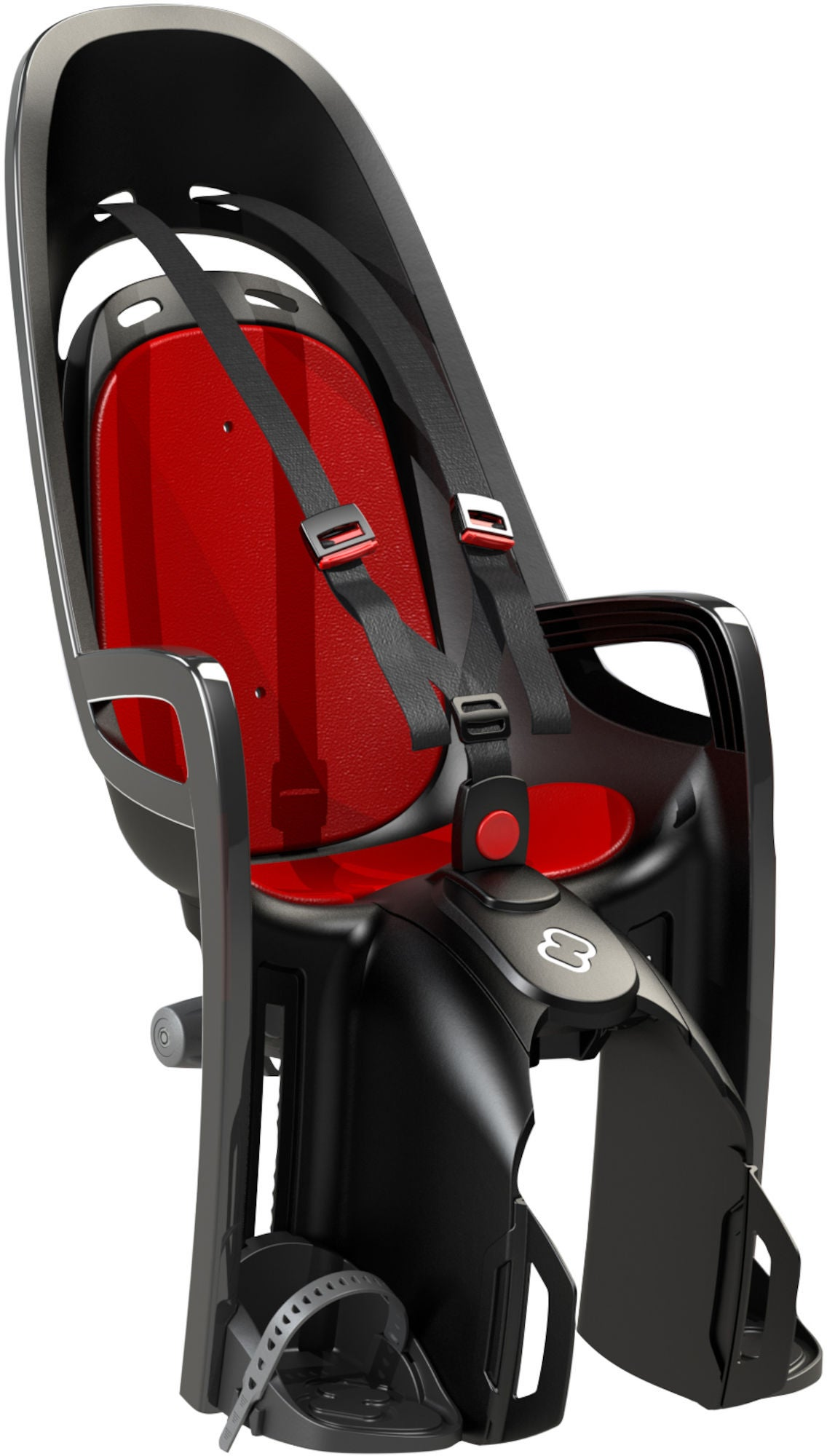 Hamax Zenith Cykelstol inkl. Bagagebærer-adapter, Grå/Rød | Bike seat