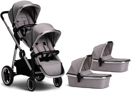 Beemoo Twin Travel+ 2019 Tvillingevogn, Light Grey